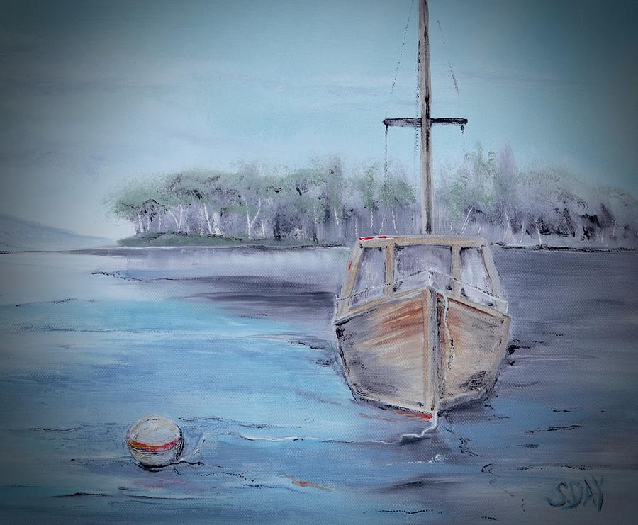 Moored Sailboat by Sandra Day
