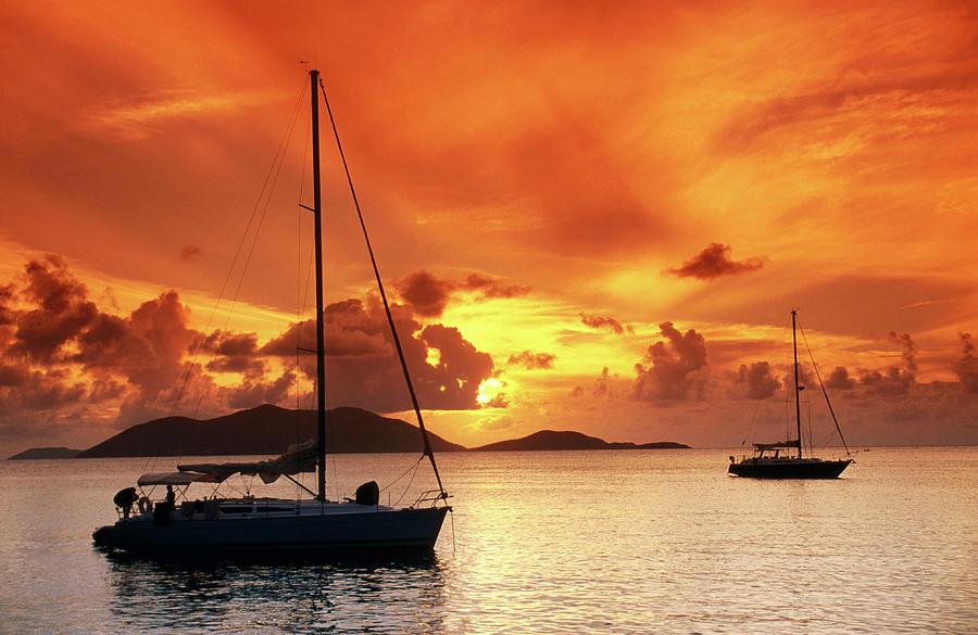 Moored Yachts At Sunset, Tortola Photograph by John Elk Iii