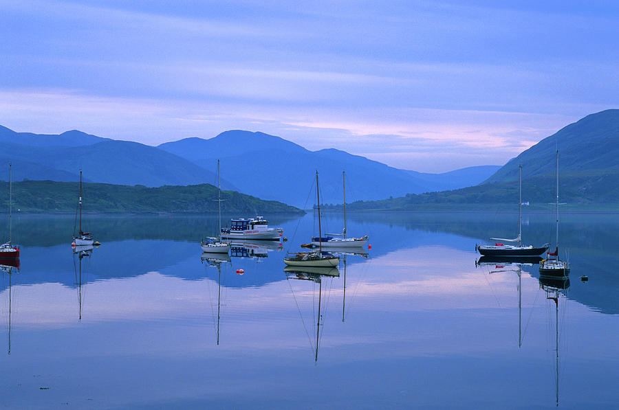Moored Yachts On Loch Broom, Ullapool Photograph by Grant Dixon