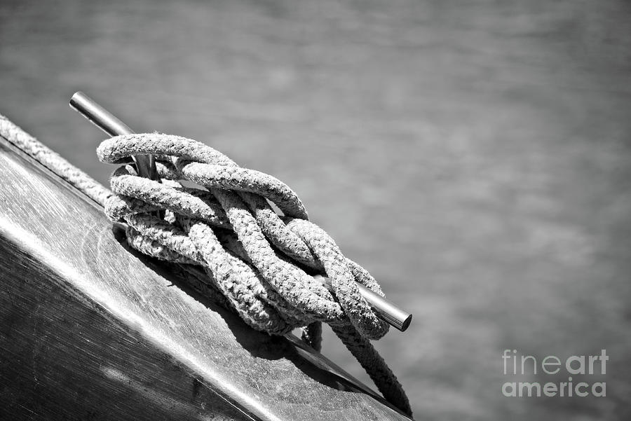 Sailboat Photograph - Mooring Rope 3 by Delphimages Photo Creations