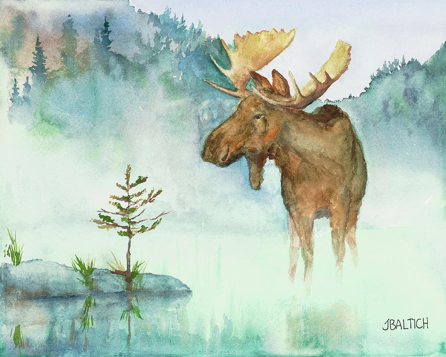 Moose and Tree by Joe Baltich