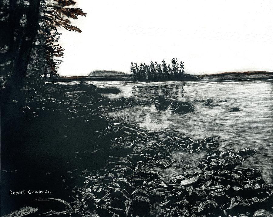 Lake Scene Drawing - Moosehead Lake In Maine by Robert Goudreau