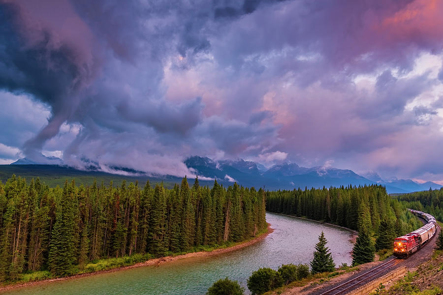 Moraine Curve Along Bow River, Banff National Park Canada Photograph