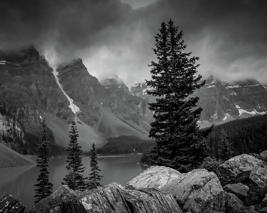 Moraine Lake Black And White by Dan Sproul