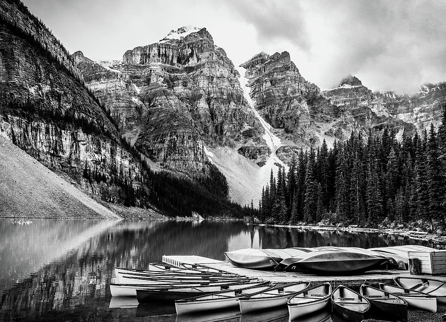 Moraine Lake Boats Black And White by Dan Sproul