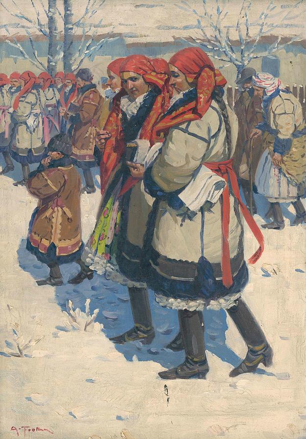Czech Women Painting - Moravian Slovaks In The Winter by Antos Frolka