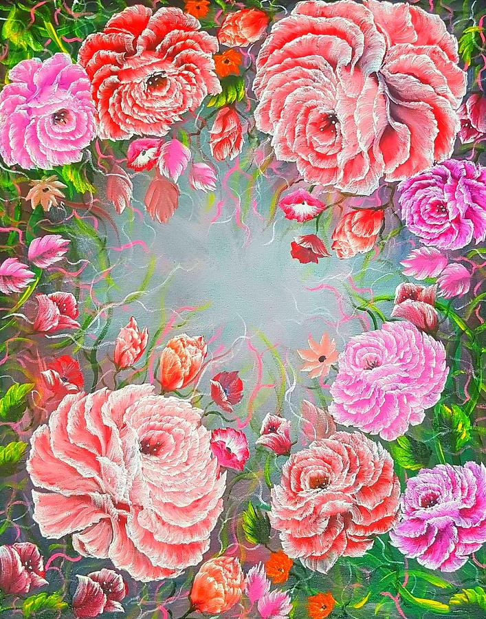 Red Painting - More Enchanting Roses Red Glow  by Angela Whitehouse
