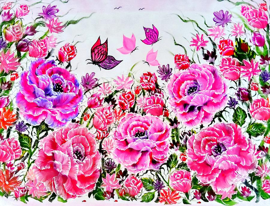 Pink Painting - More Wonderful Garden Glowing In Gorgeous Pink by Angela Whitehouse