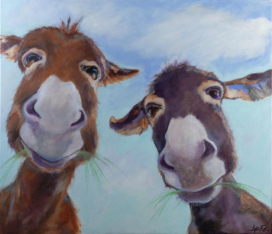 Donkeys Painting - Mork and Mindy by Brenda Peo