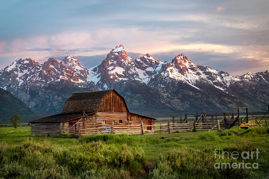 Mormon Row Barn and the Grand Teton Mountain Range by Ronda Kimbrow