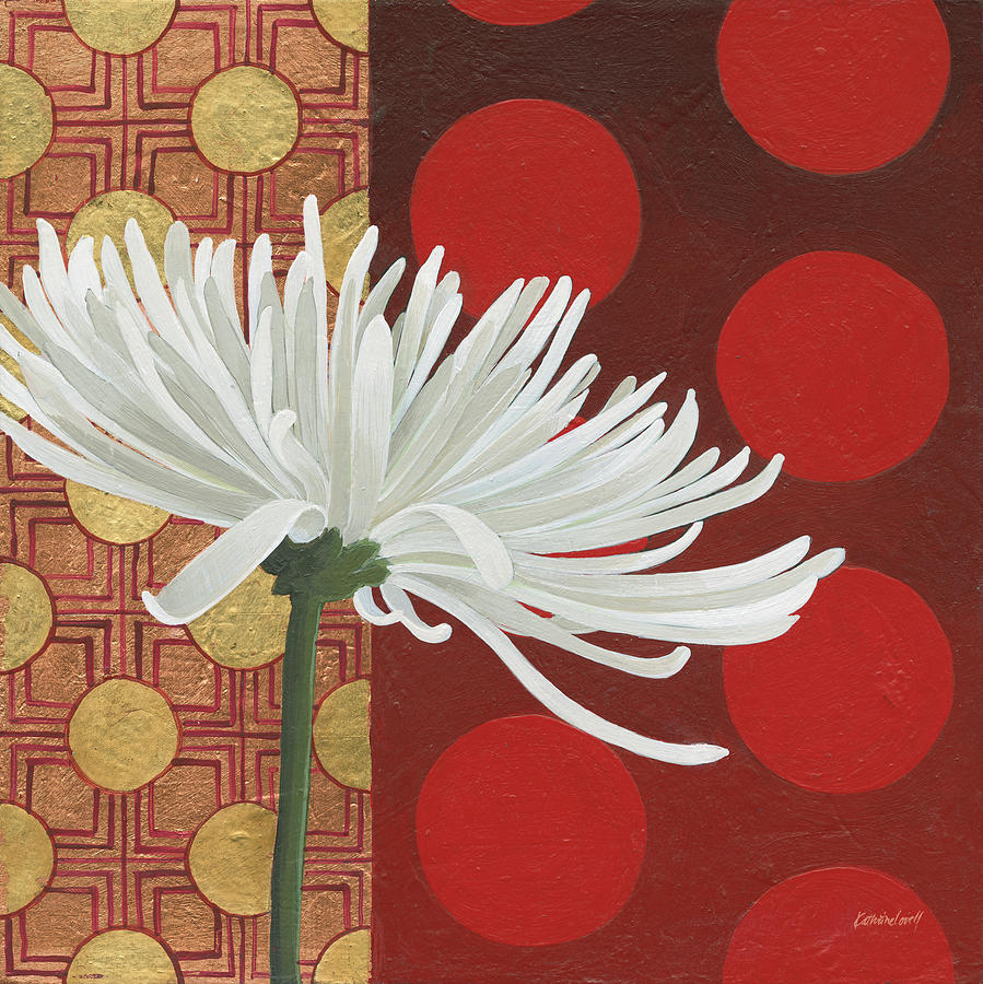 Backgrounds Painting - Morning Chrysanthemum I by Kathrine Lovell