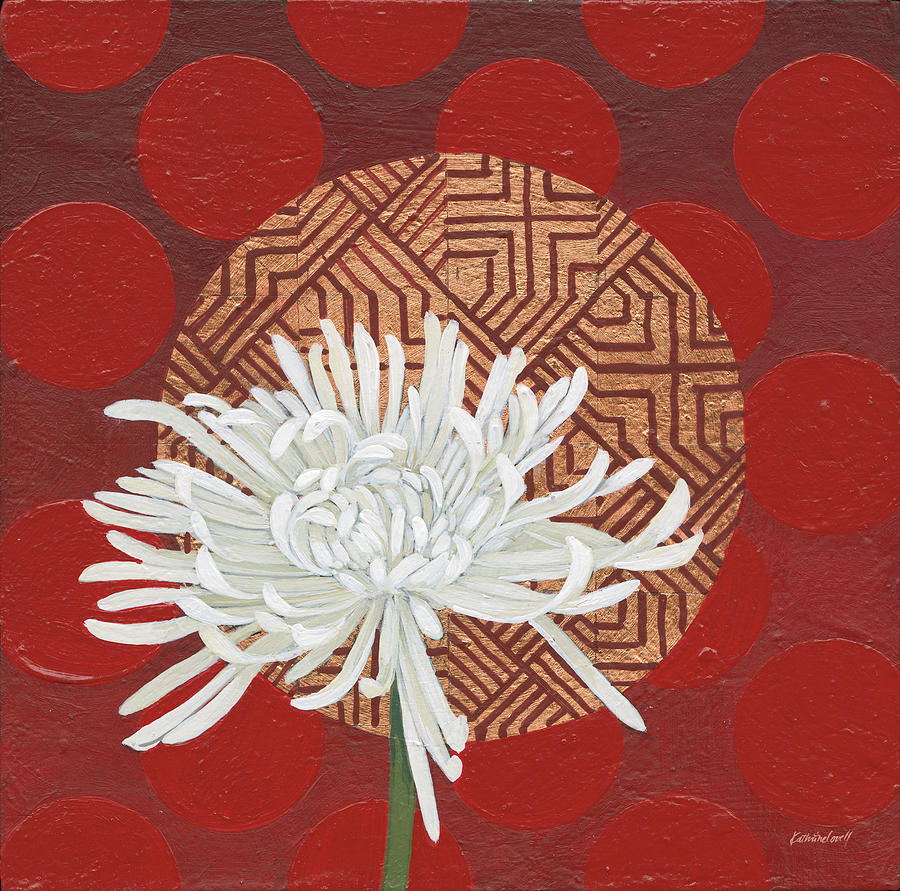 Backgrounds Painting - Morning Chrysanthemum Iv by Kathrine Lovell