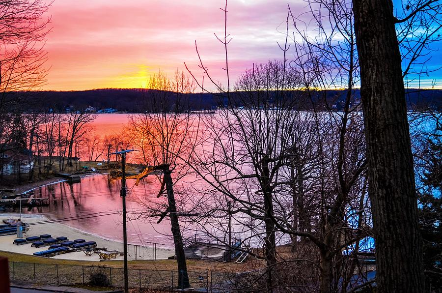 Morning Color Winter Sunrise on Lake Hopatcong, New Jersey by Maureen E Ritter