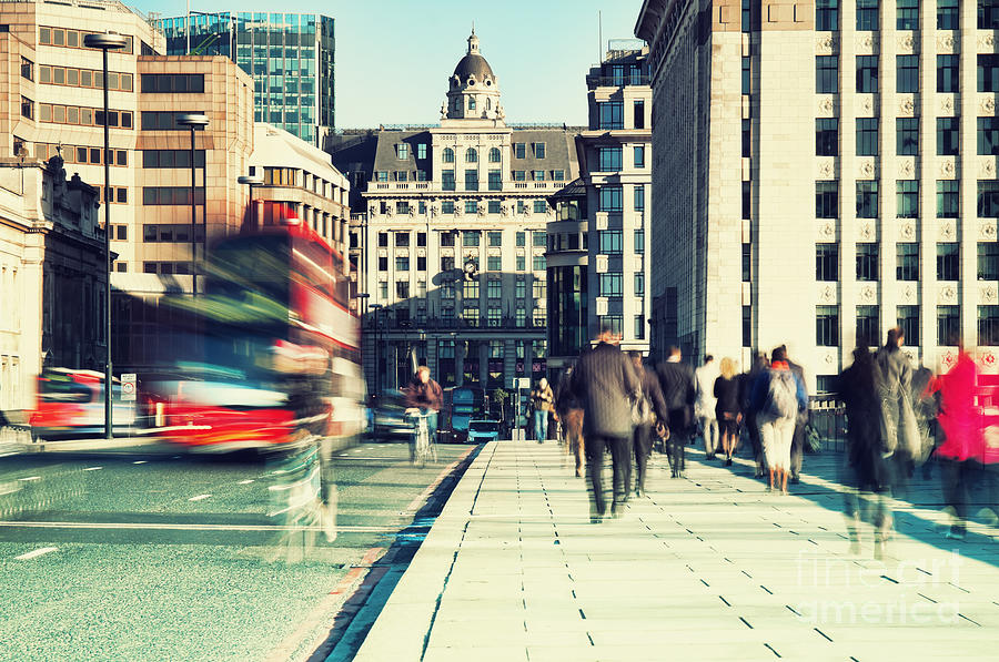 London Photograph - Morning Commuters In London by R.nagy