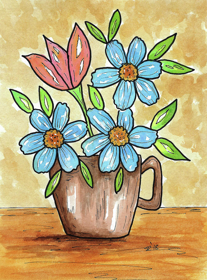 Watercolor Painting - Morning Cup Of Flowers by Susan Campbell