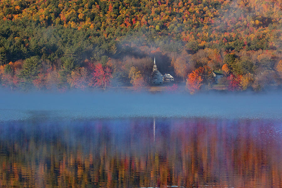 Morning misty reflection of Eaton Church by Jeff Folger