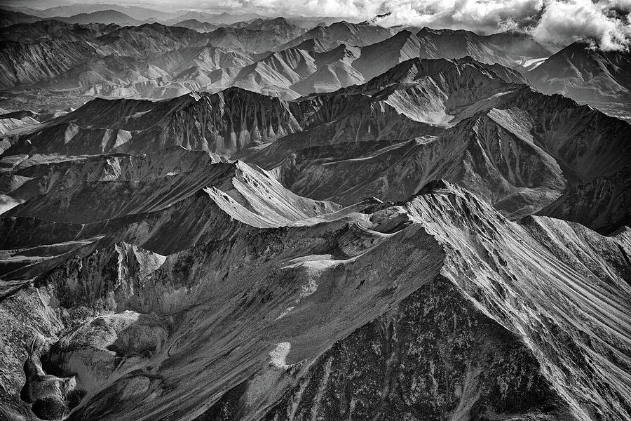 Morning On The Alaska Range Black and White by Rick Berk