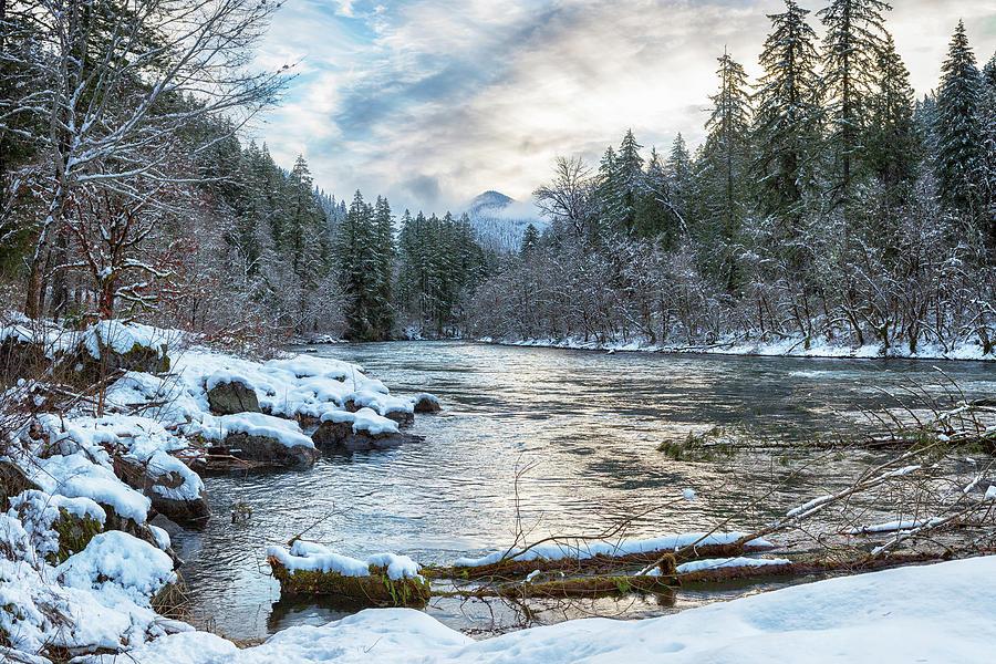 Morning on the McKenzie River Between Snowfalls by Belinda Greb