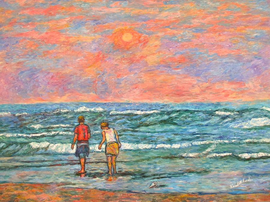 Isle Of Palms Painting - Morning Stroll At Isle Of Palms by Kendall Kessler
