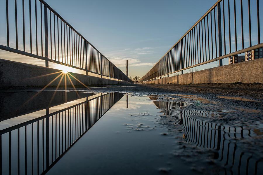 Morning Sun at The Flood Wall by Doug Ash