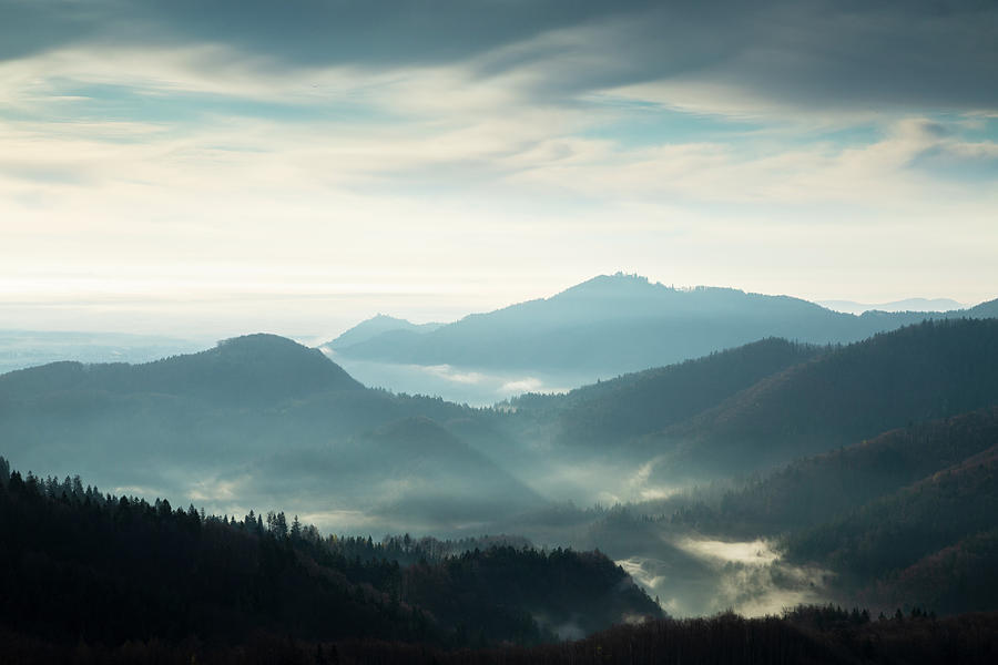 Morning view across to Sv Jost from the Jamnik Hills by Ian Middleton