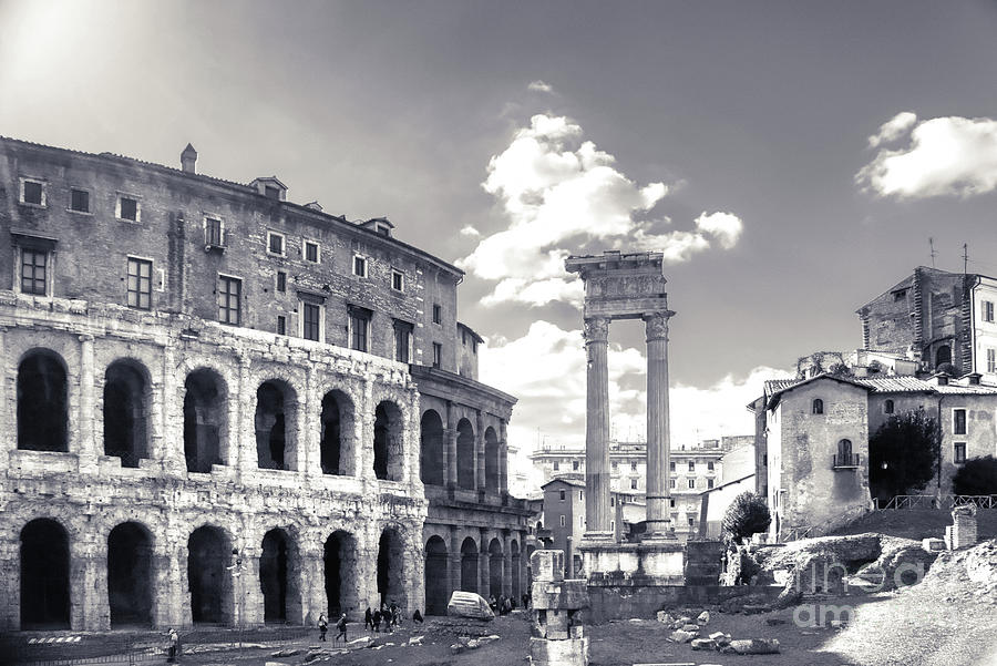 Open Air Theatre Photograph - Morning View To The Theatre Of Marcellus - Teatro Di Marcello - Built In Early Roman Republic by Stefano Senise