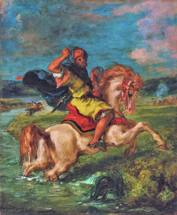 Eugene Delacroix Painting - Moroccan Horseman Crossing A Ford - Digital Remastered Edition by Eugene Delacroix