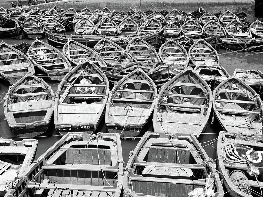 Morocco boats BW by Mache Del Campo