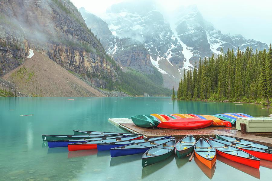 Morraine Lake Canoes by Jonathan Nguyen