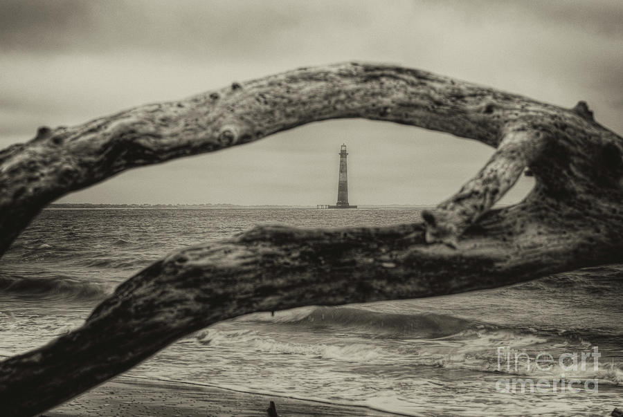 Morris Island Lighthouse - Deadwood View In Sepia Photograph