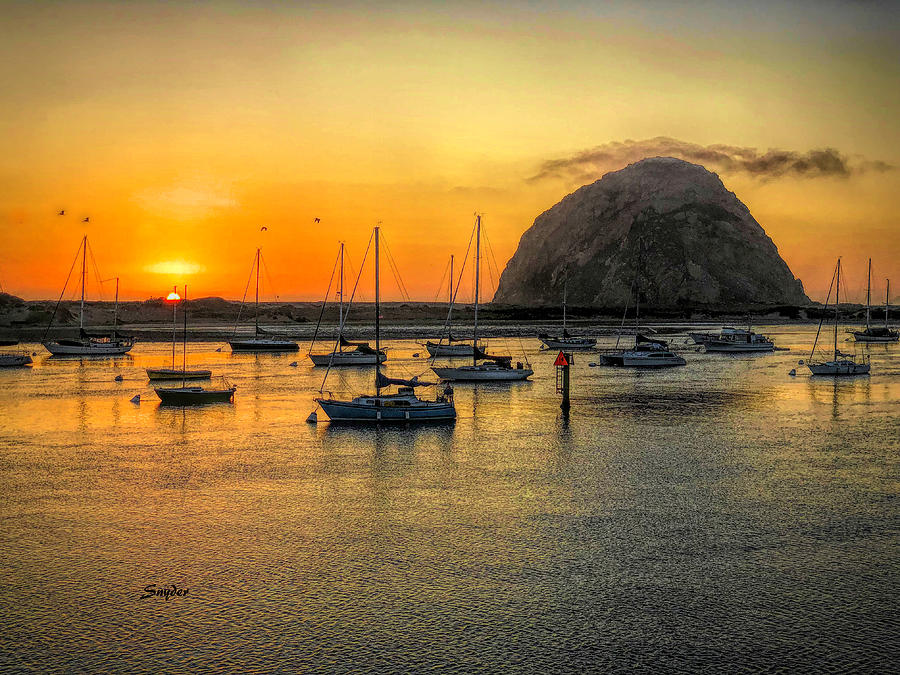 Morro Rock at Sunset by Barbara Snyder