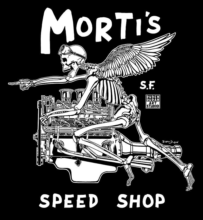 Hot Rod Digital Art - Mortis Speed Shop by Ruben Duran