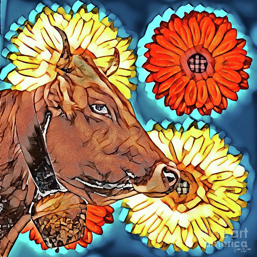 Mosaic Country Cow Digital Art