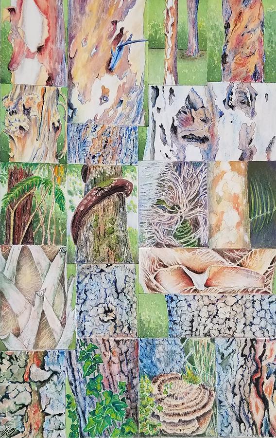 Tree Bark Painting - Mosaic Of Tree Bark by Deryn Van der Tang