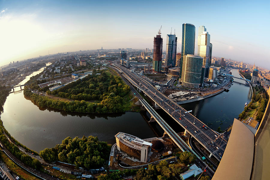 Moscow Skyline. Aerial View. Fisheye Photograph by Mordolff