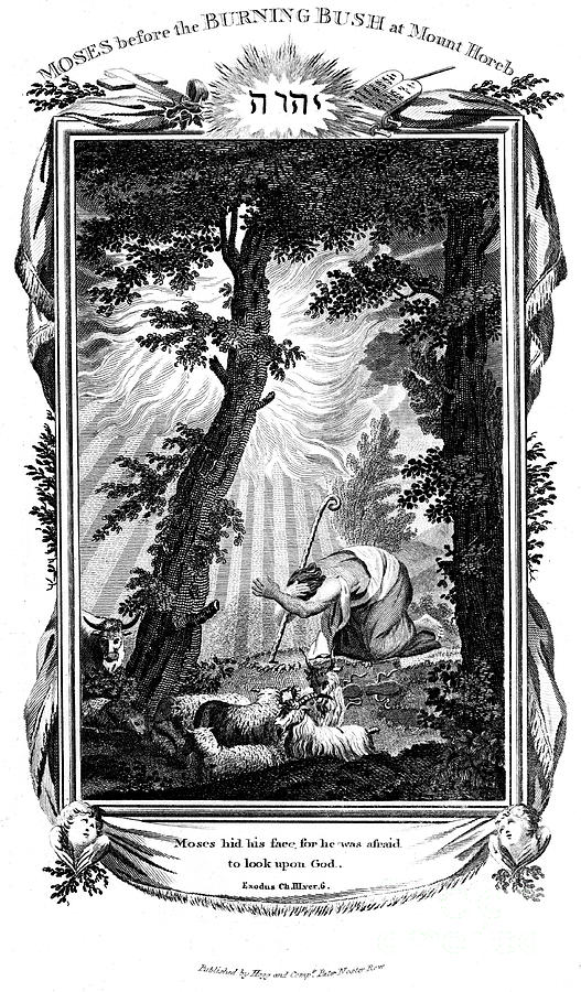 Moses Hiding His Face, 1807. Artist Anon Drawing by Print Collector
