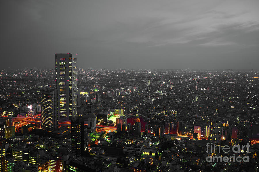 Vibrant Photograph - Mostly Black And White Tokyo Skyline At Night With Vibrant Selective Colors by Lukas Kerbs