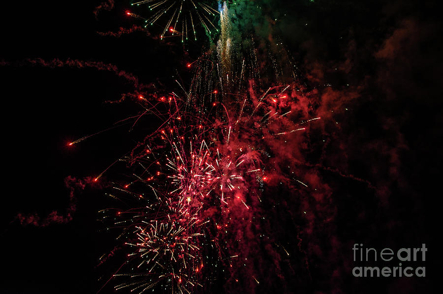 Mostly Red and White Fireworks by Sue Smith