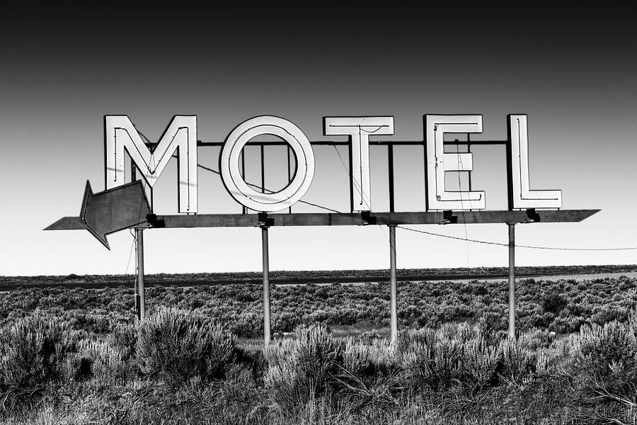 Motel Nowhere in Black and White by Mark Kiver