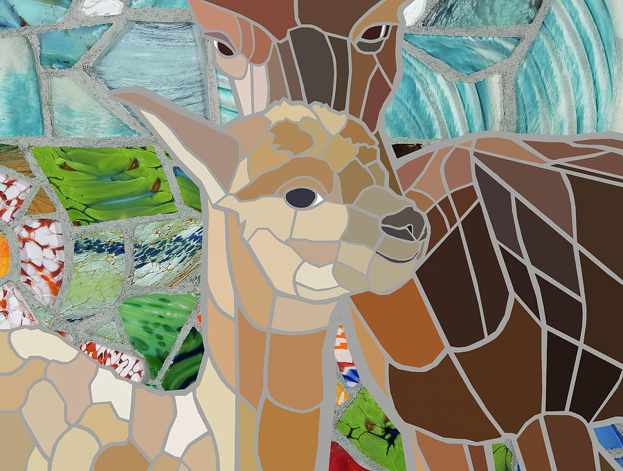 Tile Painting - Mother And Calf Alpaca In A Landscape by Jonathan Mandell