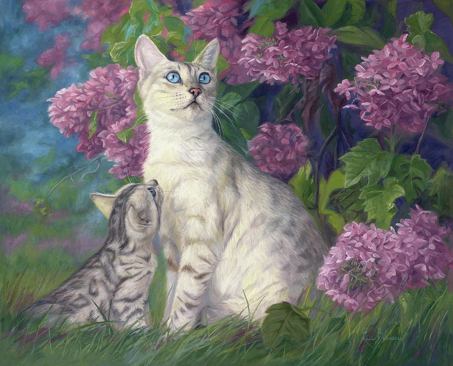 Cat Painting - Mother And Daughter by Lucie Bilodeau