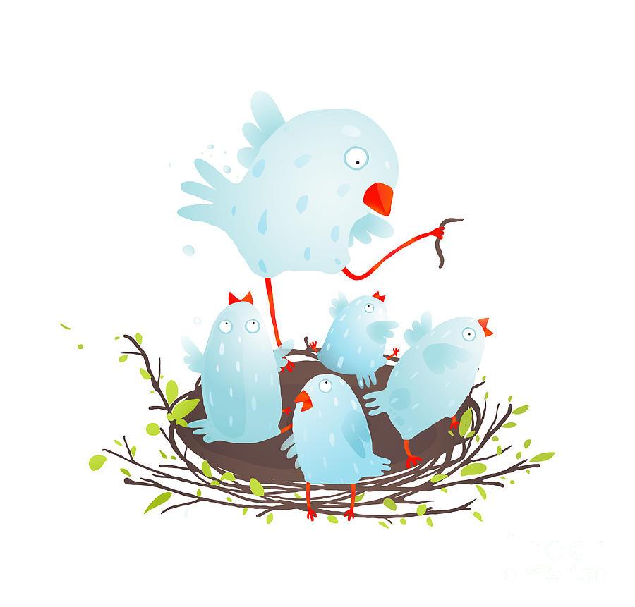 Birthday Digital Art - Mother Bird In Nest Feeding Her Babies by Popmarleo