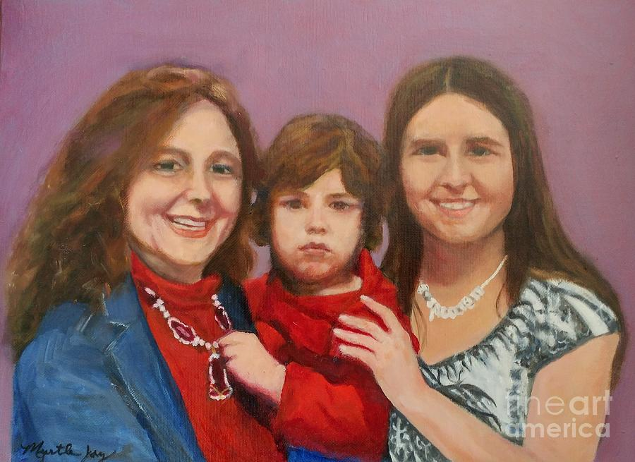 Mother Daughter and Grandson by MYRTLE JOY