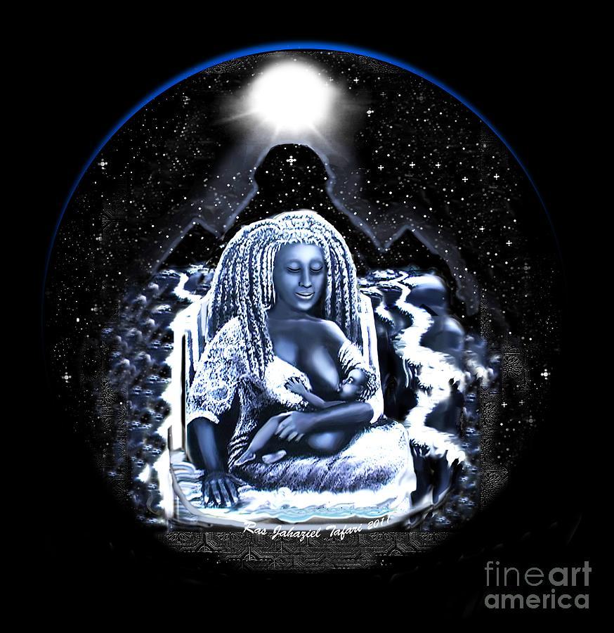 Black Paper Drawing - Mother Of Creation 2 by Ras Jahaziel Tafari