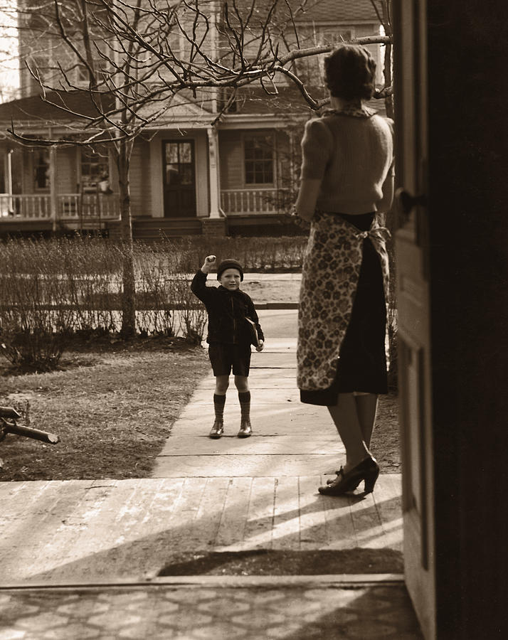 Mother On Porch Seeing Son 4-6 Off To Photograph by Fpg