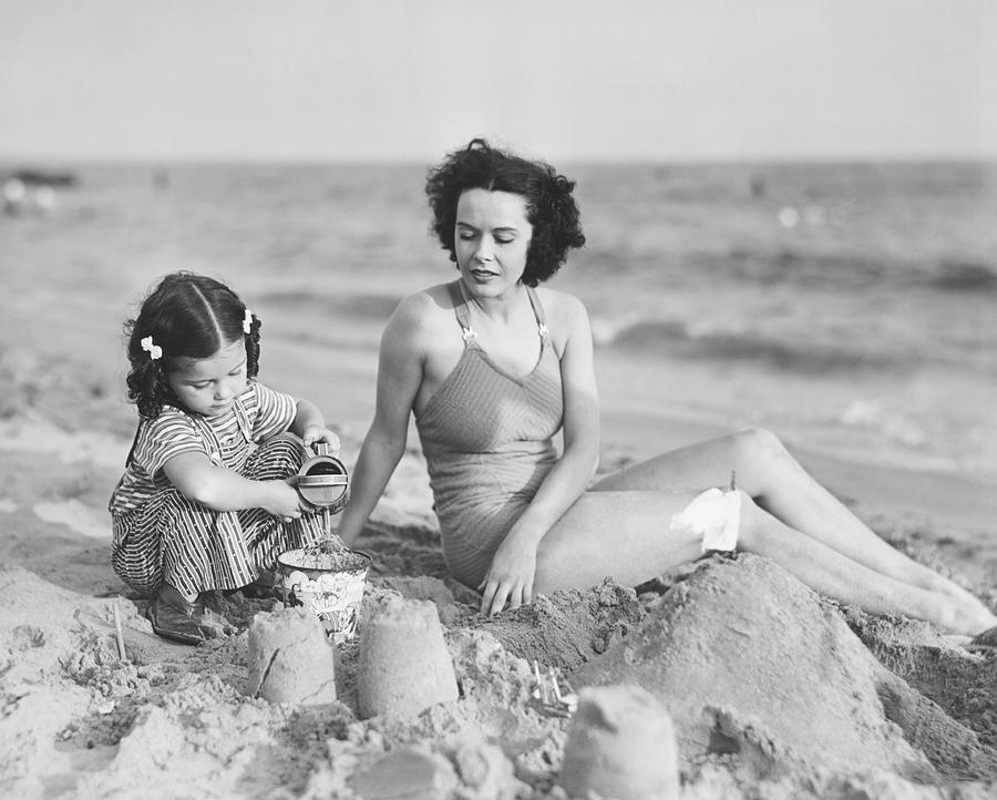Mother With Girl 2-3 Playing In Sand On Photograph by George Marks