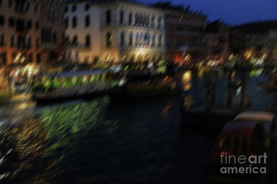 Motion blu at nightr lights and reflections of Venice by Marina Usmanskaya