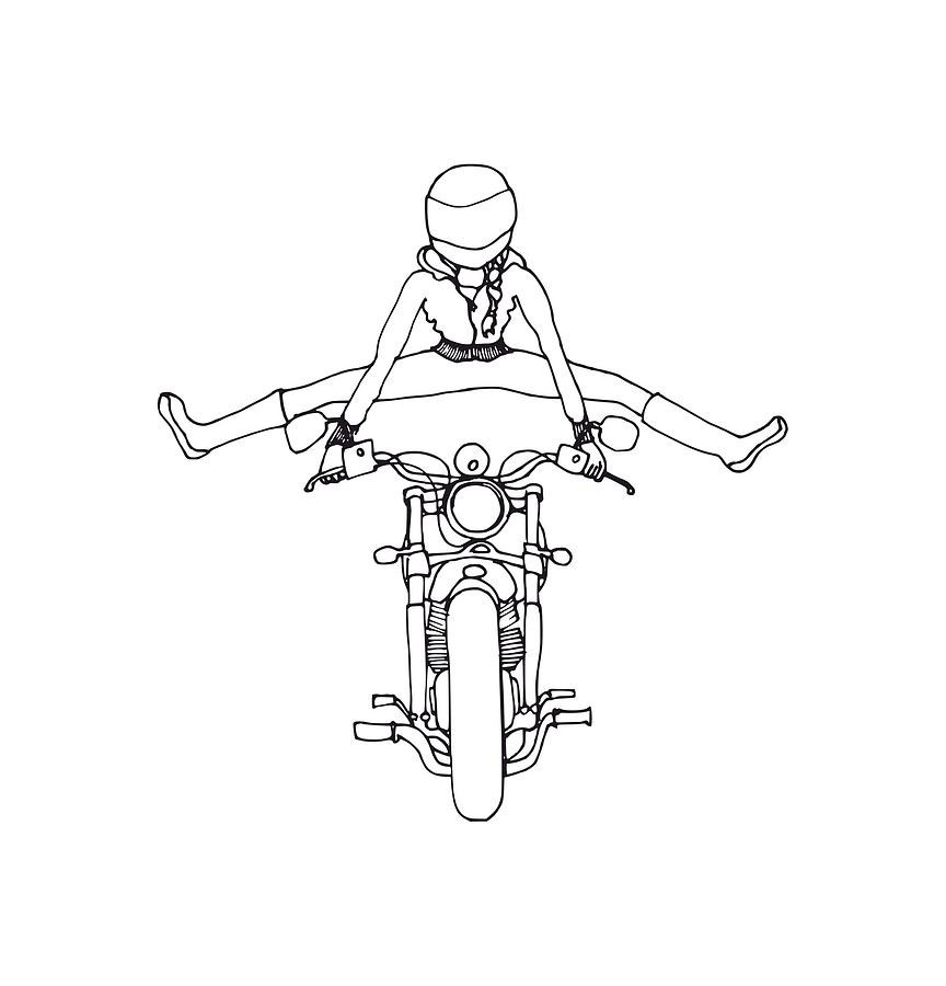 Moto Girl Drawing By Kate Erwin