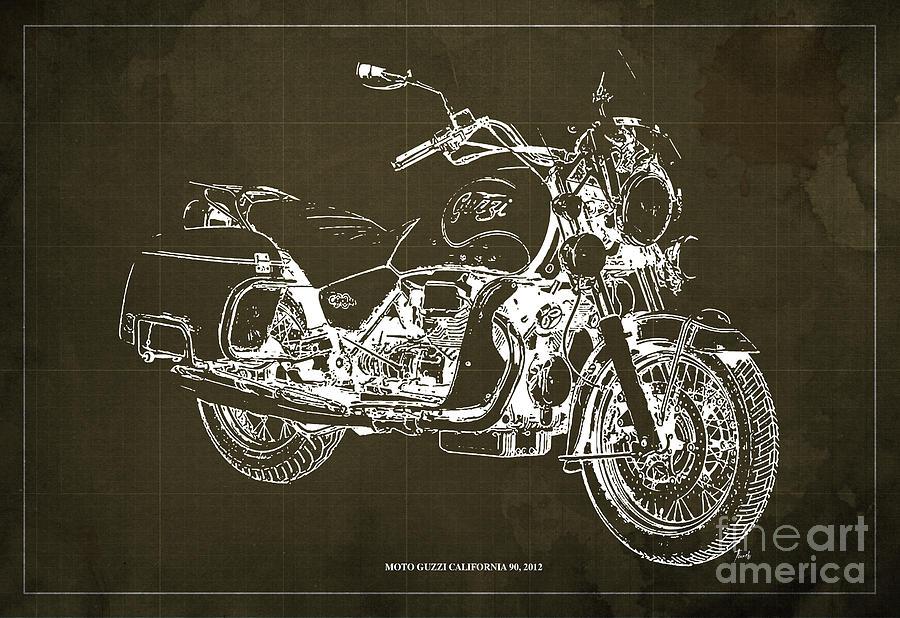 2012 Drawing - Moto Guzzi California 90, 2012. Original Blueprint Brown Background For Man Cave Decor by Drawspots Illustrations