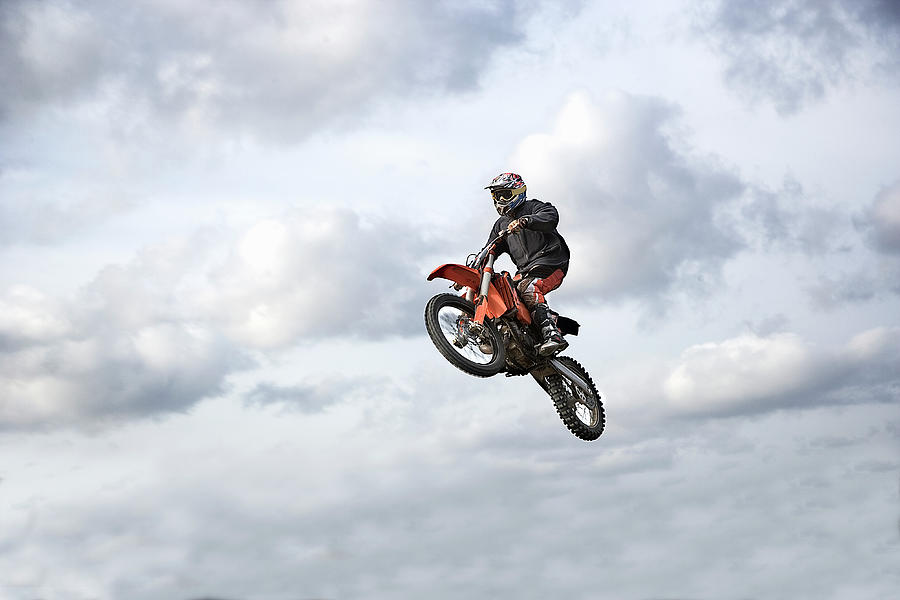Motocross Rider In Mid-air, Low Angle Photograph by Claus Christensen